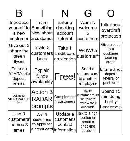 Be Legendary!!!! Bingo Card