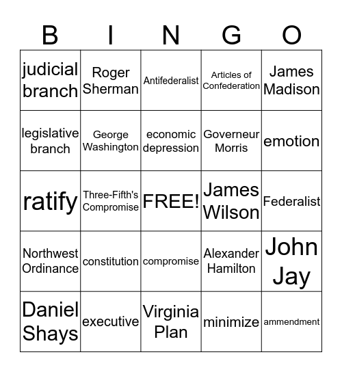 Creating the Constitution Bingo Card