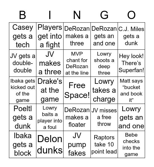 Let's go Raptors!!! Bingo Card