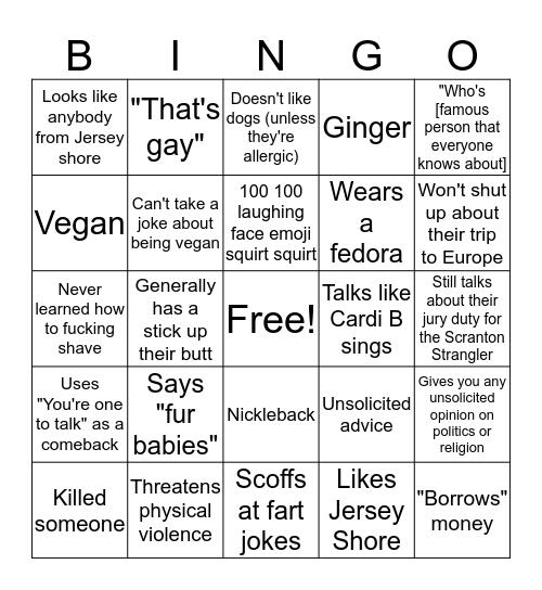 Elitist Ass-Clown Bingo Card