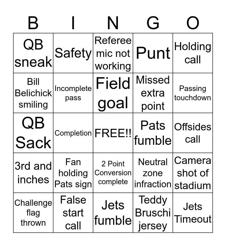 FOOTBALL BINGO!! Bingo Card