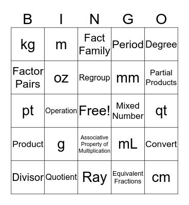 Math PSSA Bingo Card