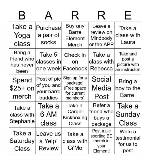BARRE BINGO Card