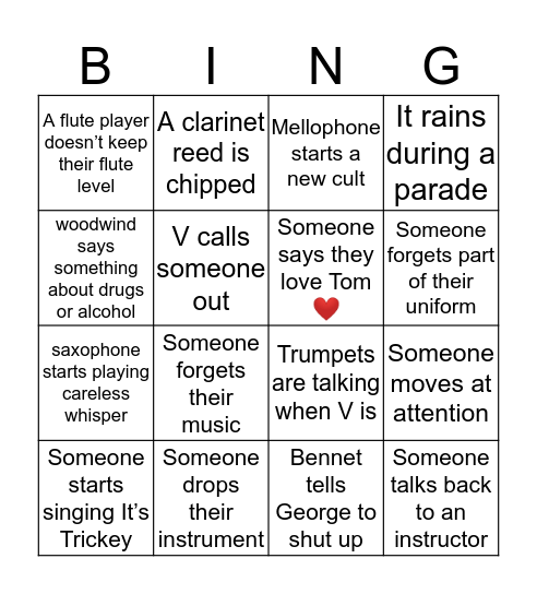 Parade Band Bingo Card
