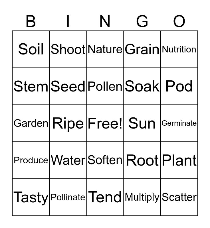 Seed to Plant Bingo Card