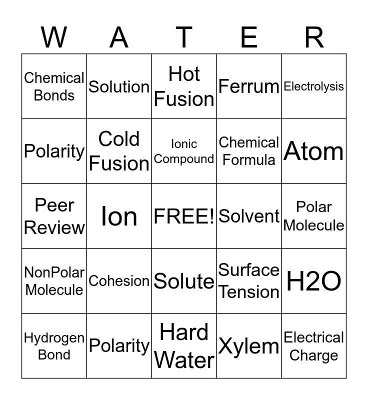 Physical Science Bingo Card