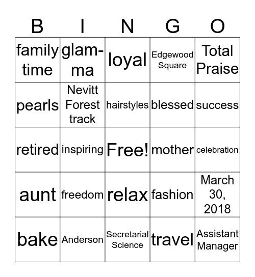 Brenda's Retirement Celebration Bingo Card