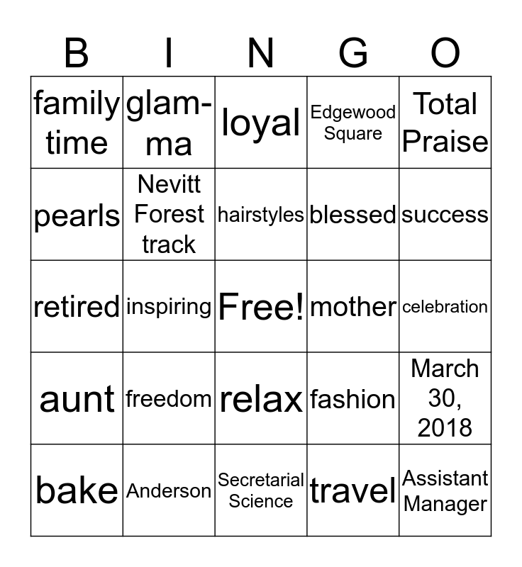 Brenda's Retirement Celebration Bingo Card