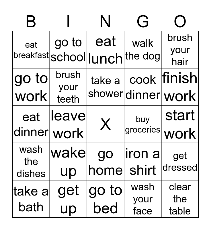 Daily Routine Bingo Card