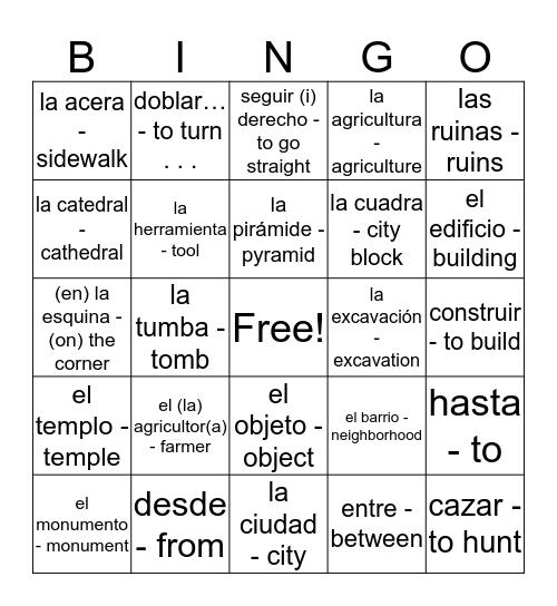 Avancemos 2 4.2 Bingo Card