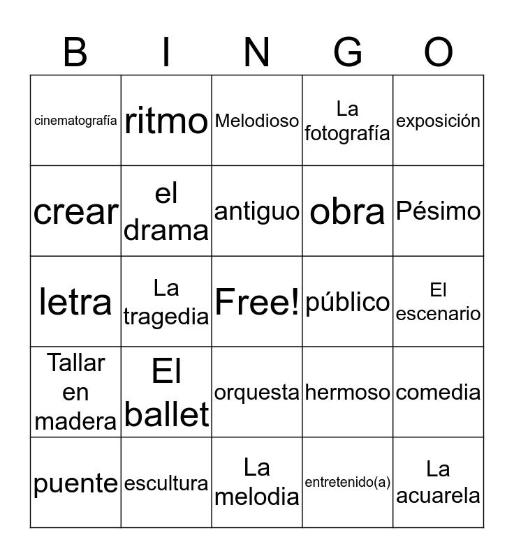 Vocabulario de Arte Bingo Card