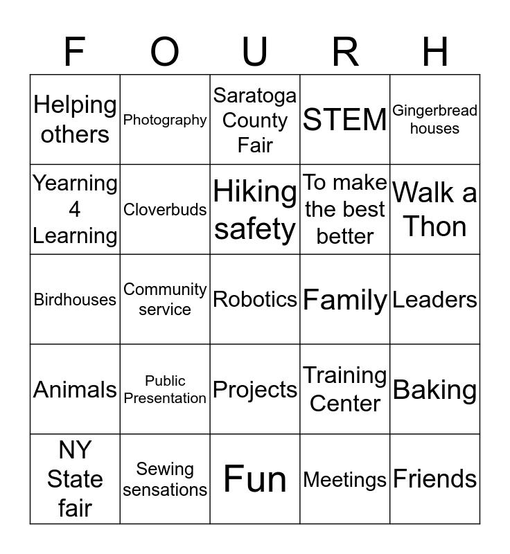 4-H Walk a Thon Fundraiser Bingo Card