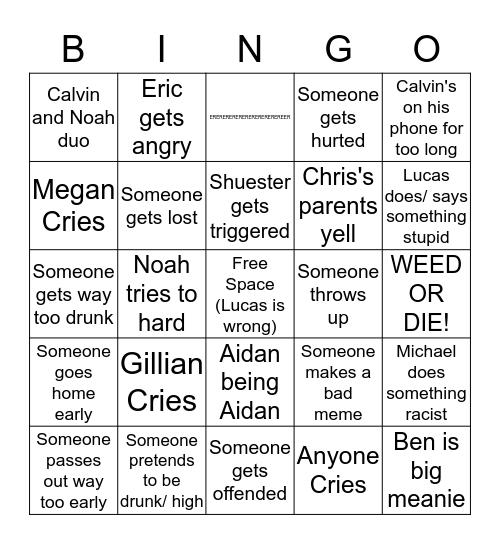 After Prom Bingo Board Bingo Card