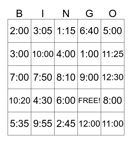 What's the Time?  Bingo Card