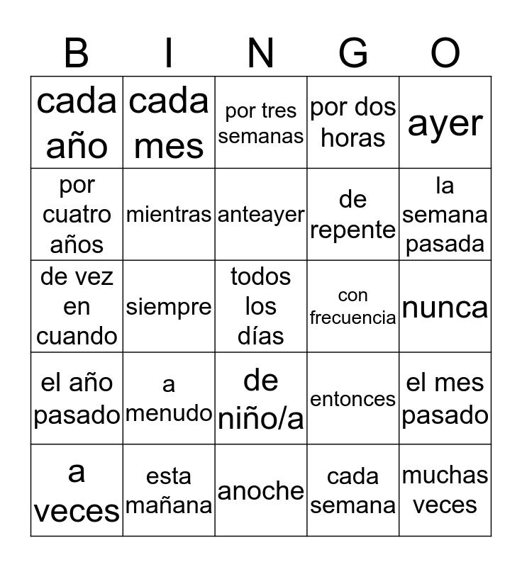 1.2 Key Words Bingo Card