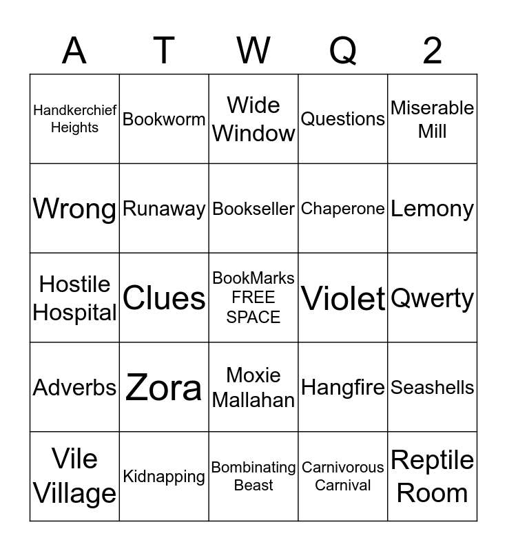 All The Wrong Questions Bingo Card