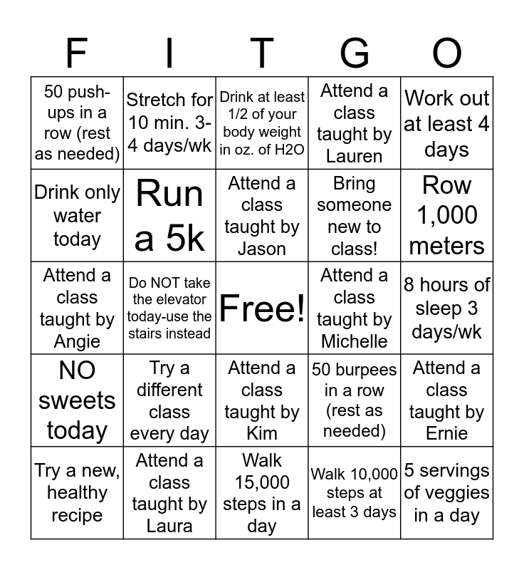 May Fitness Challenge Bingo Card