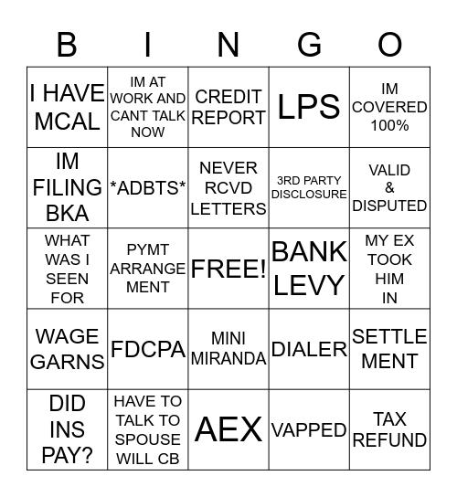 KINGS CREDIT SERVICES Bingo Card