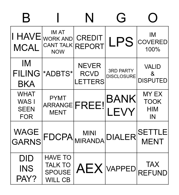 KINGS CREDIT SERVICES Bingo Card