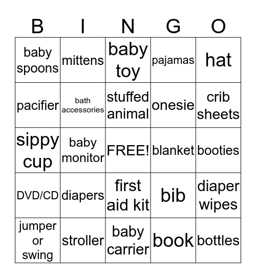 Jenilee's Baby Shower BINGO! Bingo Card