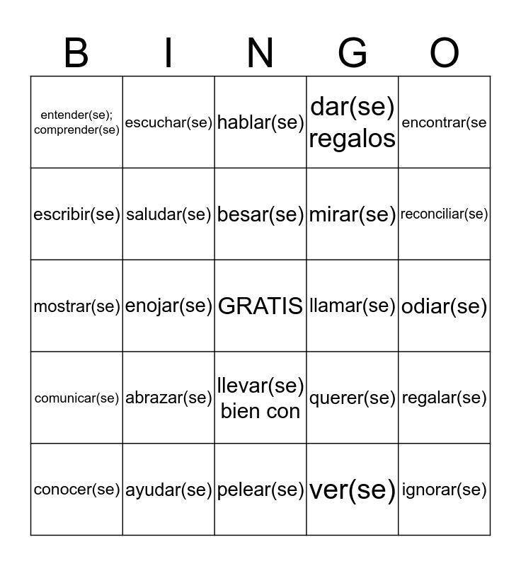 2.3 Reciprocal reflexives Bingo Card