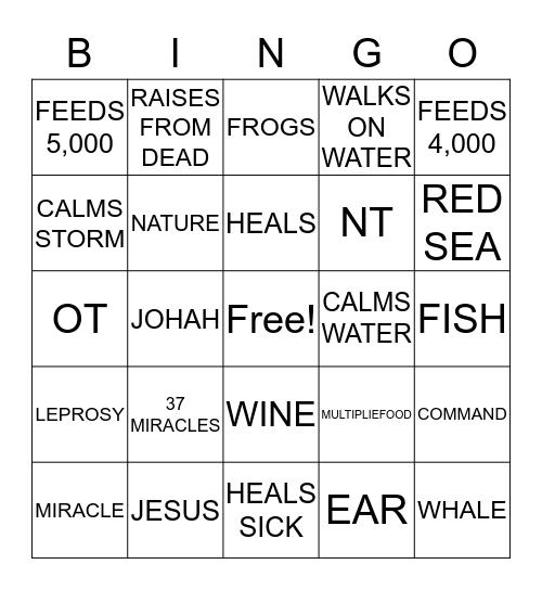 MIRACLES IN THE BIBLE Bingo Card