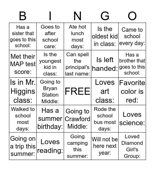 End of The Year Bingo Card