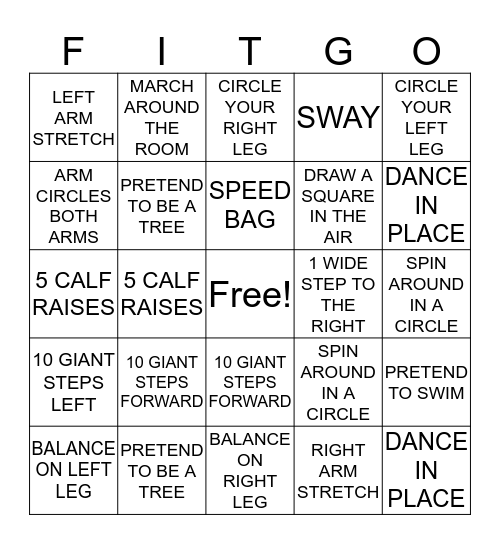 FITGO Bingo Card