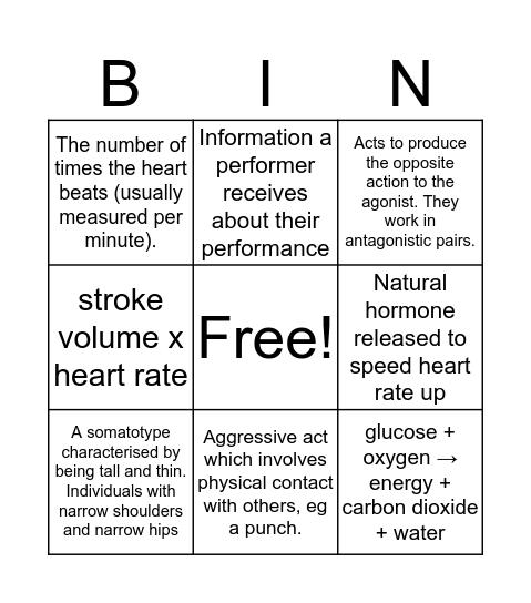 GCSE PE Bingo Card