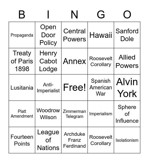 Imperialism/ WWI/ 1920s Bingo Card