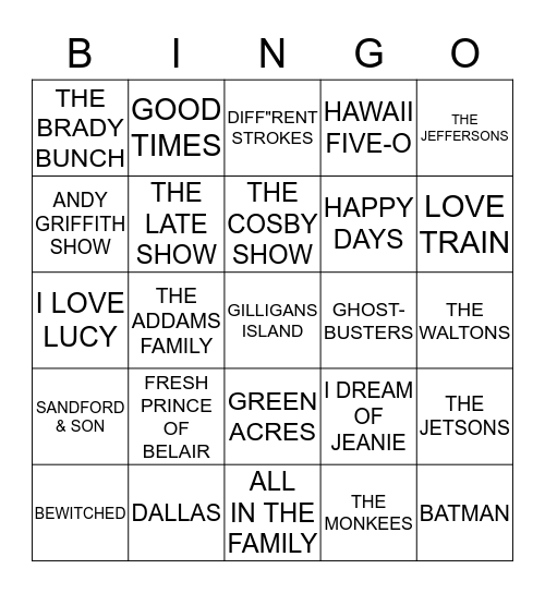 TV BINGO Card