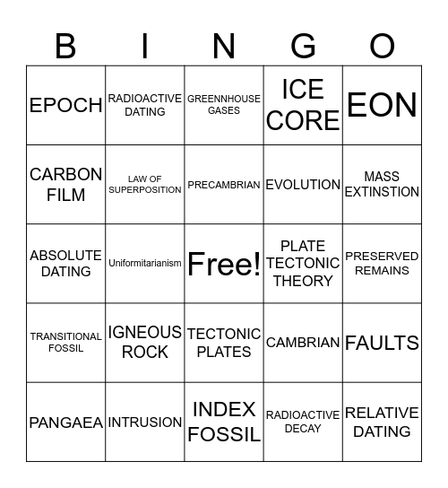 Fossils  Bingo Card