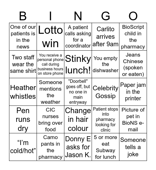 BioScript Bingo Card