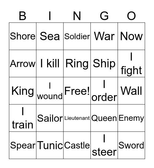 Latin Bingo: Chapter 19 Review Bingo Card