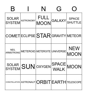 SPACE! Bingo Card
