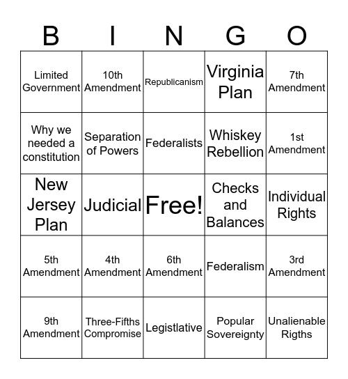 US History Bingo Card