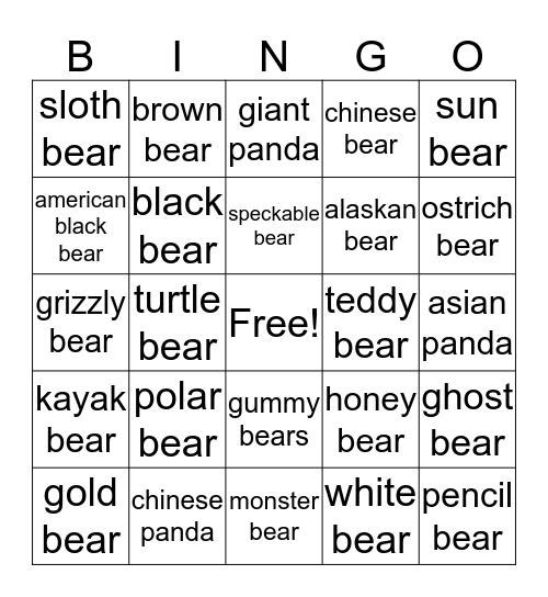 Bears Bingo Card