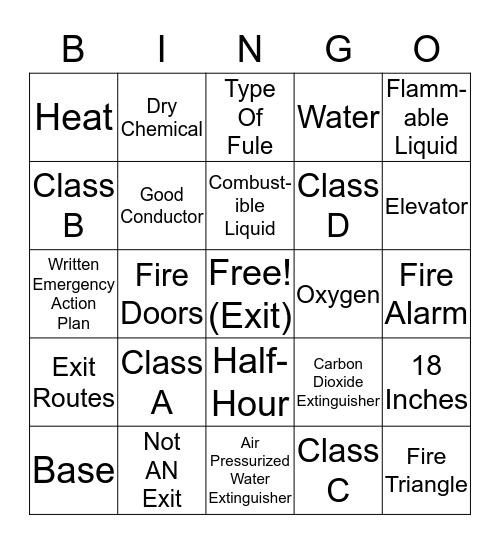 TDR Fire Safety Bingo Card