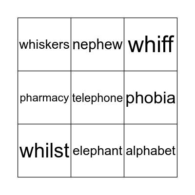 Wh and Ph Bingo Card