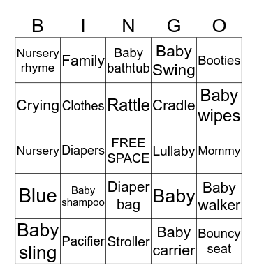 JaKara's Baby Shower Bingo Card