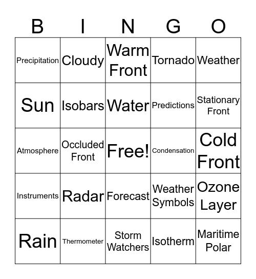 Meteorology Bingo Game Bingo Card