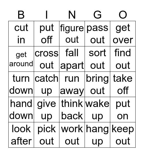 Phrasal Verbs List 6 Bingo Card