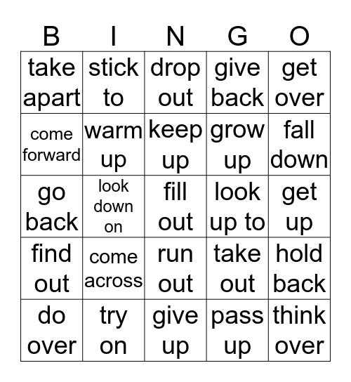 Phrasal Verbs List 8 Bingo Card