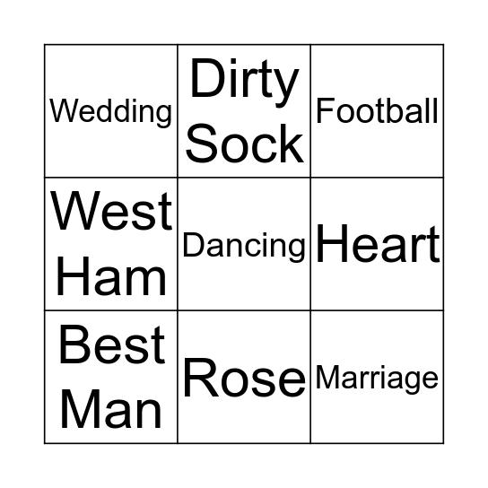 Best Man Bingo Card