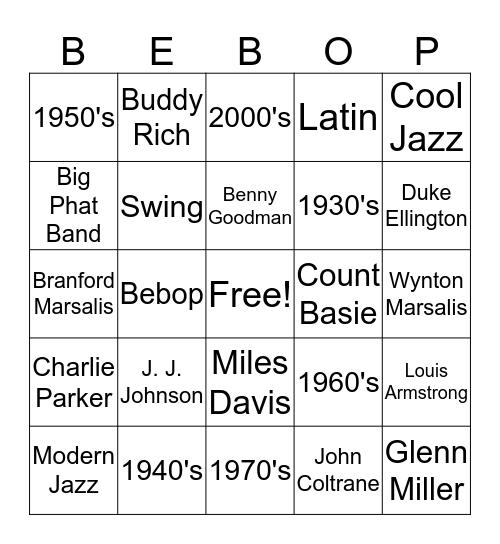 Jazz Bingo 3 Bingo Card