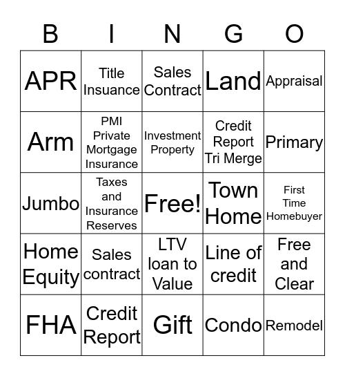 Rivermark Mortgage Bingo Card