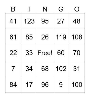 Catalyst Math Bingo Card