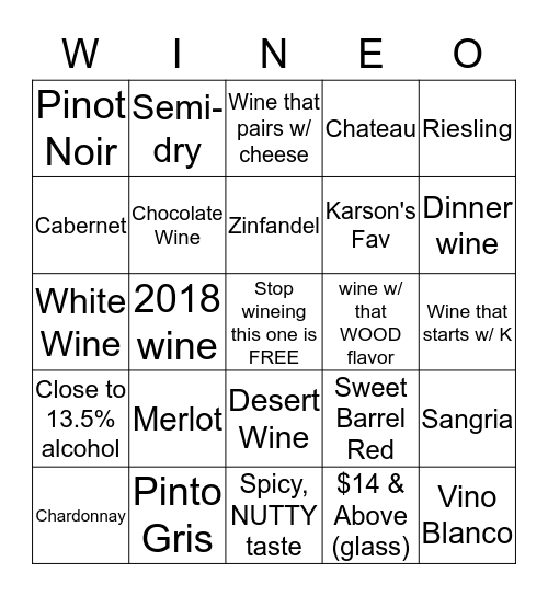 Bride's  Bingo  Bingo Card