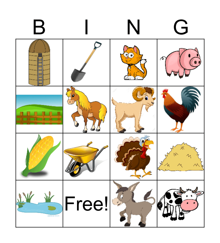 Farm Bingo Card