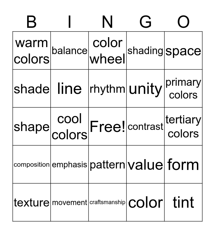 Art Final Terms Bingo Card